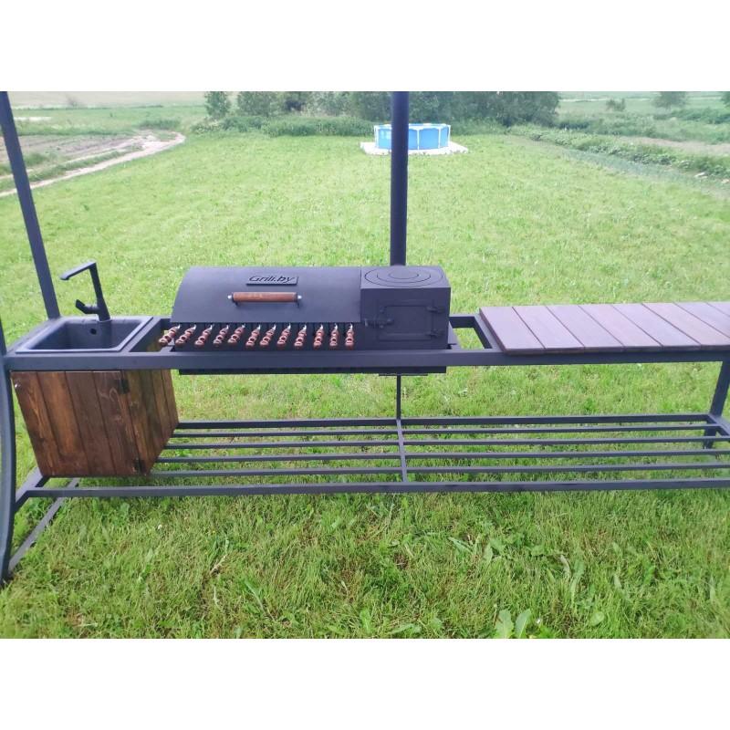 Мангал - барбекю - печь под казан BXXXL с крышей - PRO